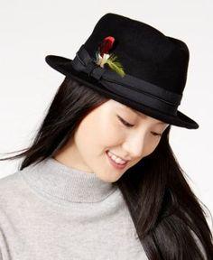 43577f109aa45 Nine West Felt Porkpie Fedora - Black Buy Hats