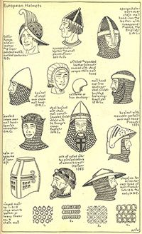 Medieval hats, hairstyles, and helmets from Ruth Turner Wilcox's The Mode in Hats and Headdress: A Historical Survey with 198 Plates. Medieval Hats, Medieval Costume, Medieval Clothing, Historical Costume, Historical Clothing, Fashion Terminology, Vintage Outfits, Vintage Fashion, Do It Yourself Fashion