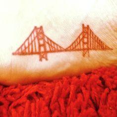 golden gate bridge tattoo on foot Foot Tattoos, Small Tattoos, Random Tattoos, Nose Bridge Piercing, Bridge Tattoo, California Love, Tattoo You, Tattoo Inspiration, Wedding Inspiration