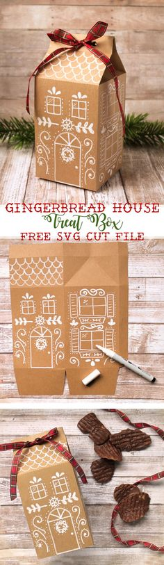 winter weihnachten Gingerbread house treat boxes are such a cute way to give Christmas goodies to neighbors and friends. Use the free SVG cut file to cut the boxes out of kraft paper, then add the doors and windows on with a chalk marker. Christmas Gingerbread, Noel Christmas, Christmas Wrapping, Christmas Goodies, Christmas Printables, All Things Christmas, Winter Christmas, Gingerbread Houses, Christmas Snacks