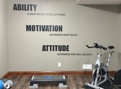 Motivational Quote Gym Wall Decal. Ability, Motivation, Attitude 14 by JandiCoGraphix on Etsy https://www.etsy.com/listing/197101489/motivational-quote-gym-wall-decal