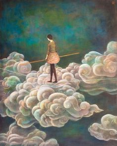 Cloudwalker by Duy Huynh, cd cover art for 'One Foot In Front of the Other' by Hayley Taylor Illustration Photo, Illustrations, Unusual Art, Sky And Clouds, Pics Art, Surreal Art, Oeuvre D'art, Painting Inspiration, Cover Art