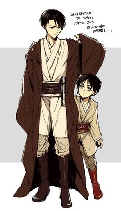 Rivaille (Levi), Eren Jaeger. greatest crossover i have ever seen period.