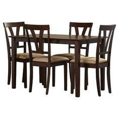 New Donald 5 Piece Dining Set by Andover Mills. kitchen dining furniture sale from top store Kitchen Dining Sets, Small Dining, Dining Room Sets, Dining Table, Wood Table Bases, Solid Wood Table Tops, Solid Wood Dining Set, Apartment Furniture, Dining Furniture
