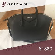 Givenchy Antigona in Medium Black Antigona in size medium with silver hardware.  As beautiful as this bag is, I'm selling because I don't use it often. My outfits usually have gold rather than silver. Givenchy Bags Satchels
