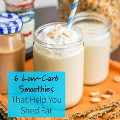 Ensure you start your day off right by making a low-carb, low-sugar smoothie. These easy and simple smoothie recipes include delicious flavors such as cinnamon roll, peanut butter and jelly and a healthy chocolate frosty smoothie! Use high-protein ingredi Smoothie King, Smoothie Bowl, Smoothie Vert, Keto Breakfast Smoothie, Low Carb Breakfast, Breakfast Ideas, Low Carb Drinks, Low Carb Desserts, Low Carb Recipes