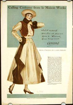 Calling Costume from La Maison Weeks by Coles Phillips Vintage Advertisements, Vintage Ads, Vintage Posters, Art Posters, Vintage Paper, Life Magazine, Edwardian Fashion, Vintage Fashion, Vintage Couture