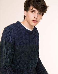 Pull&Bear - man - jumpers & jackets - cable knitted speckled sweater - blue - 09559539-I2015