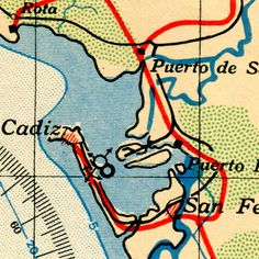 Detail from a 1943 British War Office aero map of southern Spain and Portugal. Learyworks.com collection.