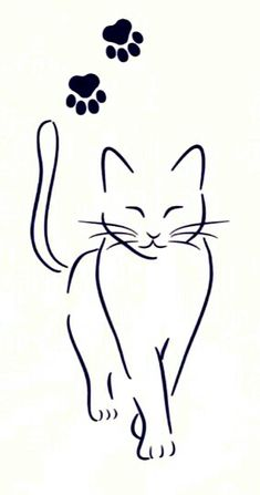 Cat Tattoo Designs, Tattoo Design Drawings, Art Drawings Sketches, Easy Drawings, Silhouette Chat, Cat Silhouette Tattoos, Cat Outline Tattoo, Cat Template, Cat Applique