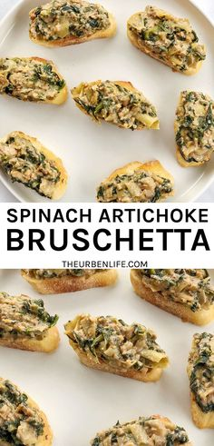 Vegan Spinach Artichoke Bruschetta Bites are adorable individual appetizers, perfect for the holidays, happy hour, game day, or any occasion requiring finger food! Creamy, cheesy, crispy dip on sliced baguette. Vegan, dairy free, gluten free, vegetarian. Individual appetizer idea for thanksgiving, christmas, new years eve, party. Quick and easy!