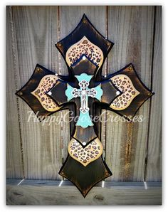 Medium Wall CROSS 4-layers - Antiqued Black & turquoise, with leopard/cheetah print - Gorgeous!!!