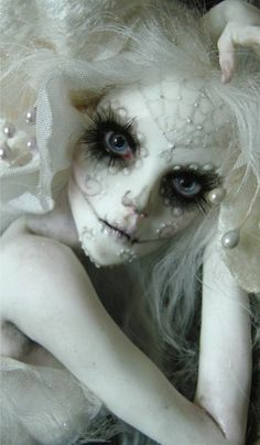This is a doll, but I'm pinning for makeup inspiration.  DIA DE LOS MUERTOS SPIRIT 3 by wingdthing.deviantart.com on @deviantART