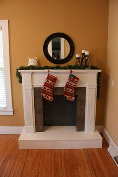 DIY Fireplace mantel and hearth, for her house that didn't have a fireplace. I especially like the owl on the mantel =)