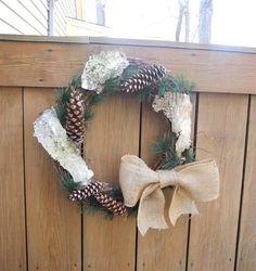 Natural pine cone and birch bark wreath by LilyPadsAndSunshine