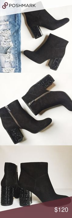 "Michael Kors Arabella Suede Ankle Boots Michael Kors Arabella Suede Studded Boots in black featuring studded block heel.  Amazing detail!  Rounded toe with trendy block heel.  NWT, never worn!  Original box included.  Heel measures 3"" Michael Kors Shoes Ankle Boots & Booties"