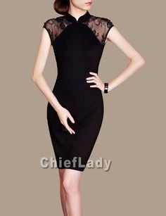 Chinese Dress Qipao Style Cheongsam Custom Made Lace Mini Black Dress Elegant Evening Dress 1950's Chieflady CF52 on Etsy, $108.00