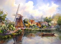Holland Reflections painting by Roland Lee of Openluchtmuseum in Arnhem Netherlands
