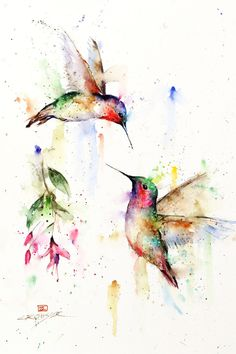 Water Painting Humming Birds Hummingbird Painting