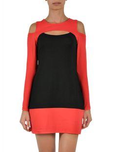 FITNB Tencel Color Block Dress in orange
