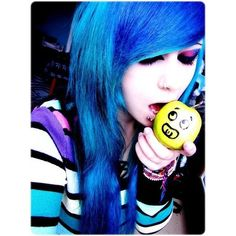 verena schizophrenia   Tumblr ❤ liked on Polyvore featuring hair, people, blue hair, girls and hairstyles