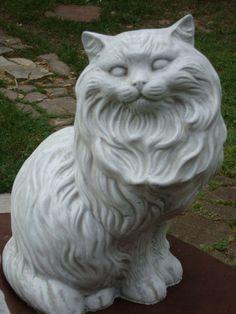 SITTING BIG FAT FANCY CAT PERSIAN GRAY CONCRETE/CEMENT STATUE ANTIQUE WHITE