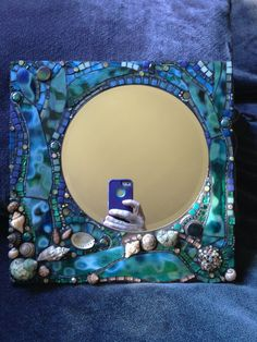 Mosaic Art Mirror Ocean by Moon jewels and mosaics. Mirror Mosaic, Mosaic Art, Mosaic Glass, Mosaic Tiles, Stained Glass, Glass Art, Mosaic Crafts, Mosaic Projects, Deco Boheme