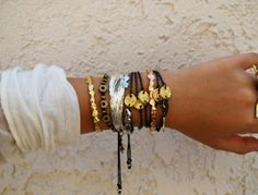 Gypsy bracelets!! i love to wear all of my clanky--silver/copper and brass bracelets.....love the noise!!