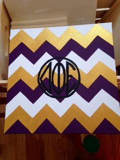 delta phi epsilon chevron canvas I painted myself :)