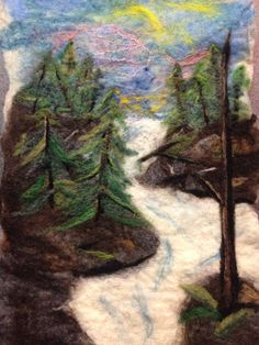 Northwest waters, wet and needle felted 100% wool by Conspiracy of Love