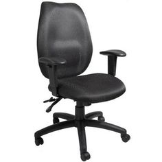 Boss Office Products High-Back Task Chair with Seat Slider, Black