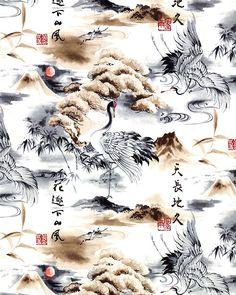 Nobu Fujiyama Soaring - Ink Wash Cranes - Quilt Fabrics from www.eQuilter.com
