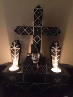 Baron Samedi Altar Piece (illuminated) Baron Samedi, Voodoo Hoodoo, Pagan Altar, Religious Images, Practical Magic, Deities, Witchcraft, Halloween Decorations, Spirituality