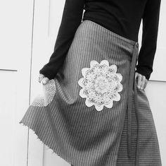 wrap skirt grey pinstripe upcycled wool vintage doilies trim.