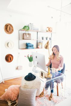 Cozy-Chic Home Office // LivvyLand Before & After Reveal
