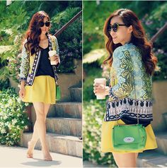 Mulberry Bag, Zara Shoes, Skirt, Print Jacket