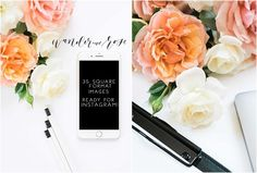 Instagram Styled Stock Square Photos by Wander and Rose on creativemarket, Styled Stock Photos, Floral, Roses, Flowers, Smartphone, Desk