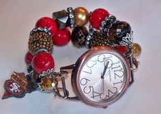 SF 49er Beaded Watch Band and Face  Chunky  by BeadsnTime on Etsy, $30.00