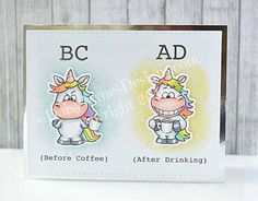 These Unicorns are quite moody and give you lots of opportunities to create funny Unicorn cards. This Stamp Set comes with four different Unicorns and different