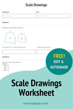 This free Scale Drawings Geometry worksheet with answers is fully customizable and autogradable with Bakpax! Better yet, students can complete it online or on paper. Check out more standards-aligned math assignments like this one at bakpax.com. Rotational Symmetry, Scale Drawings, Middle School, High School, Isosceles Triangle, Geometry Worksheets, Students, Classroom, Lettering