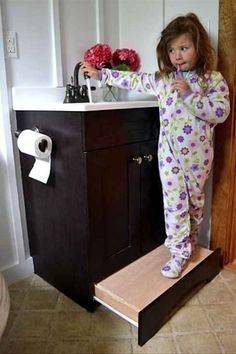 Slide out step stool for kids in the bathroom or kitchen! Genius. Toddlers and little kids would love this and it keeps a stool out from underfoot / frees up floor space! Easy diy... 33 Insanely Clever Upgrades To Make To Your Home