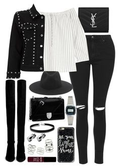 """""""Outfit for a meal out with over the knee boots"""" by ferned on Polyvore featuring Yves Saint Laurent, Topshop, Madewell, Stuart Weitzman, Miss Selfridge, rag & bone, Casio and Casetify"""