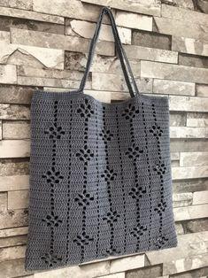 Ideas For Knitting Bag Diy Ganchillo Diy Crochet Cardigan, Débardeurs Au Crochet, Mode Crochet, Crochet Motifs, Crochet Tote, Crochet Handbags, Crochet Purses, Filet Crochet, Crochet Stitches