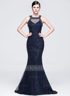 [US$ 199.99] Trumpet/Mermaid Scoop Neck Sweep Train Lace Sequined Evening Dress (017073774)