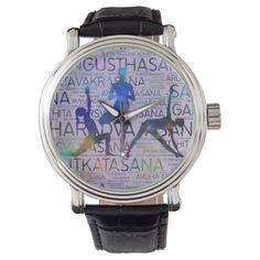 Shop Yoga Asanas / Poses Sanskrit Word Art Wristwatch created by LoveMalinois. Vintage Leather, Vintage Men, Sanskrit Words, Yoga Gifts, Out Of Style, Asana, Word Art, Quartz, Poses