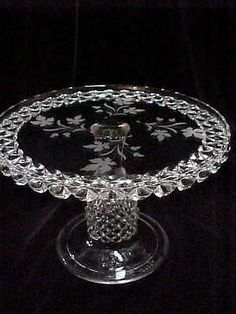 Antique Victorian EAPG Glass Pedestal Cake Stand, etched with tea leaf.