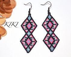 Beaded earrings - dangle earrings - Ethnic inspired vibrant geometric earrings unique and handmade