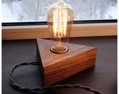 Wooden lamp Edison bulbs with dimmer for smooth brightness control.Solid Wood Lamp,Retro Lamp,Night Lamp,Edison Bulb - ALL ABOUT Edison Lamp, Edison Lighting, Edison Bulbs, Shabby Chic Lamps, Rustic Lamps, Natural Lamps, Retro Lampe, Contemporary Floor Lamps, Handmade Lamps