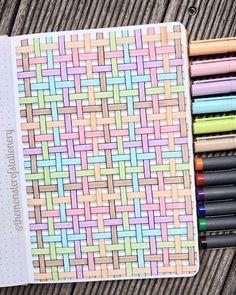 Today I've made a weaved basket pattern. Doodle Art Drawing, Cool Art Drawings, Pencil Art Drawings, Sharpie Drawings, Sharpie Art, Graph Paper Drawings, Graph Paper Art, Diy Stationery Paper, Create This Book