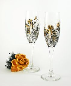 Hand Painted CRYSTAL Champagne Flutes - Elegant Black and Gold Rose, Set of 2 - 50th Anniversary Gift Idea Toasting Glasses by HandPaintedPetals on Etsy https://www.etsy.com/listing/94154987/hand-painted-crystal-champagne-flutes